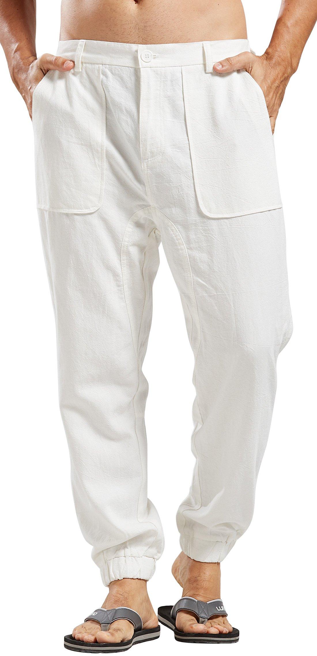 utcoco Men's Casual Side-Elastic Waist Tapered Flat-Front Linen Jogger Pants (Medium, White)