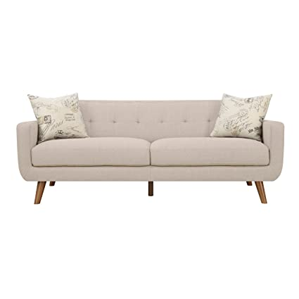 Emerald Home Remix Beige Sofa, With Pillows, Button Tufted Back, Telescoped  Wood Legs