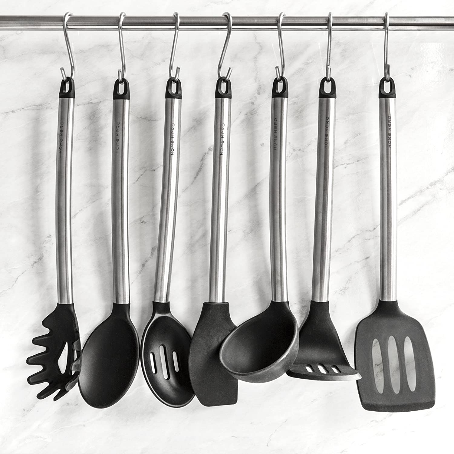 Home Hero 11 Silicone Cooking Utensils Kitchen Utensil Set - Stainless Steel Silicone Kitchen Utensils Set - Silicone Utensil Set Spatula Set - Silicone Utensils Cooking Utensil Set Salad Tongs: Kitchen & Dining