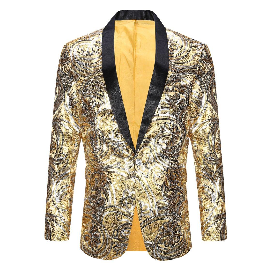 PYJTRL Men's Pink Gold Flower Pattern Wedding Groom Singer Sequins Suit Jacket (Gold, Tag M (US XS) Chest 37'') by PYJTRL