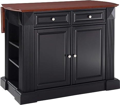 Amazon Com Crosley Furniture Drop Leaf Kitchen Island Breakfast Bar Black Kitchen Islands Carts