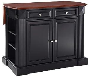 Crosley Furniture Drop Leaf Kitchen Island/Breakfast Bar, Black