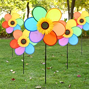 Mtianxy 5 Pack Sunflower Windmills Colorful Wind Spinner 3D Kids Toys Flower Garden Stakes, Garden Ornament for Outdoor Yard Lawn Patio Decor and Party (5pcs Sunflower)