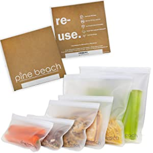 Reusable Storage Bags - 6 Pack PINE BEACH |2 Large Gallon Bags, 2 Reusable Sandwich Bags, 2 Reusable Snack Bags| Leakproof Ziplock, BPA Silicon and Plastic Free, Bag for Lunch Food Kitchen and Travel