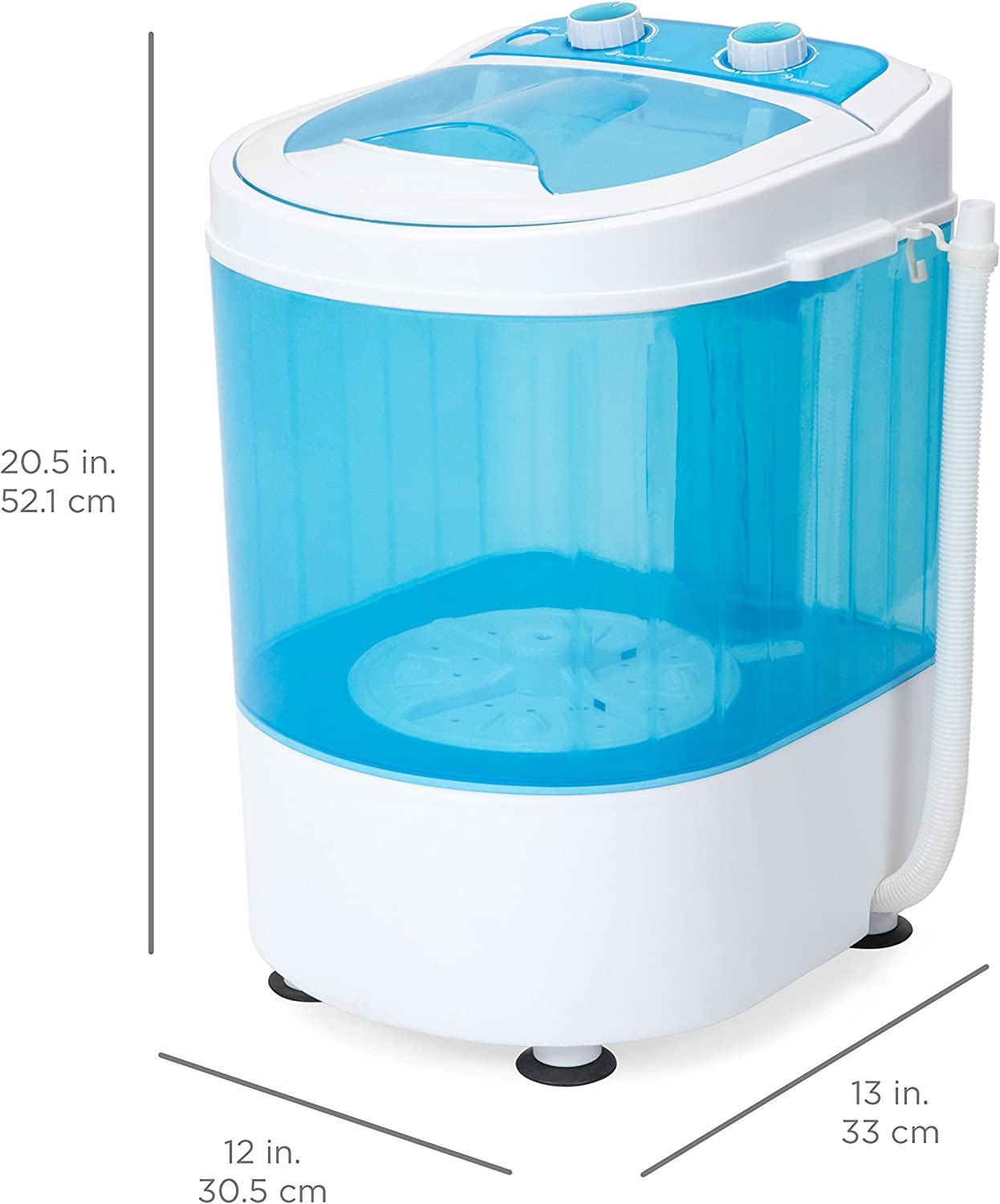 128oz Mini Washing Machine Compact Counter Top Washer with Spin Cycle Basket and Drain Hose Lightweight Travel Laundry Washer Camping Apartments Dorms RV Business Trip Clothes Blue