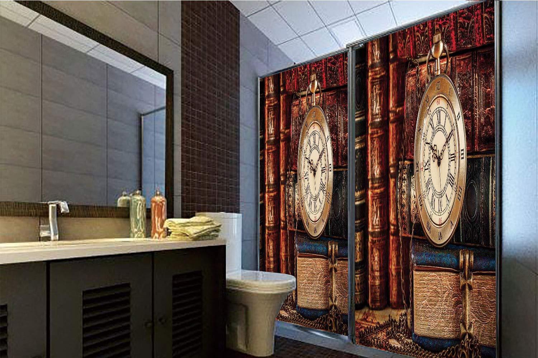 Horrisophie dodo 接着剤不要 静電気付着ガラスステッカー アンティーク チェーン付き懐中時計 クラシックな装飾の背景 葉のシルエット付き パープル 高さ35.43インチ×幅23.62インチ 自宅&オフィス用 70.86