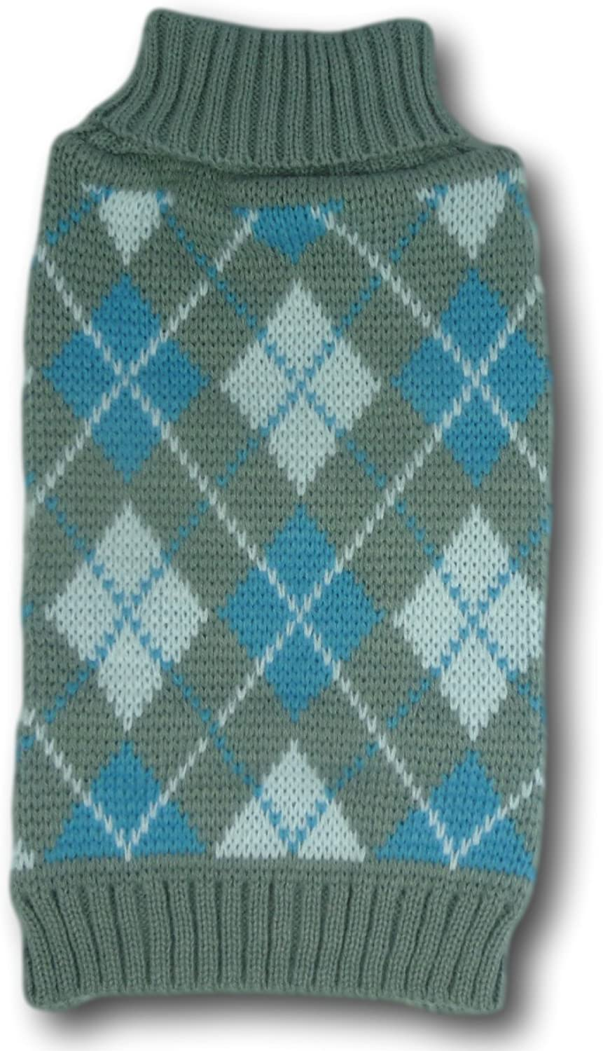 Cara Mia Dogwear Grey and Light Blue Argyle Jumper Sweater teacup to small breed dogs