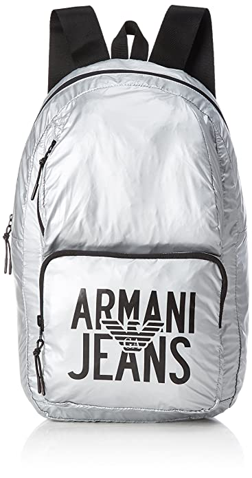 Armani Jeans Zaino, Men s Backpack, Silber (Argento), 48x15x29 cm (B ... e0fc9c2defb