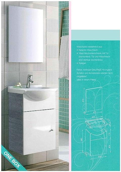 Gäste WC Set 3 Teile/Waschbecken aus Keramik/Waschtischunterschrank mit 1  Tür/Spiegel/Soft-Close/Türanschlag frei wählbar/Set fürs Bad und WC/Korpus:  ...