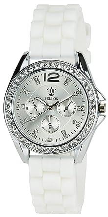 Bellos Montre Bracelet Quartz Silicone Blanc Femme Boitier Acier nk8OX0Pw
