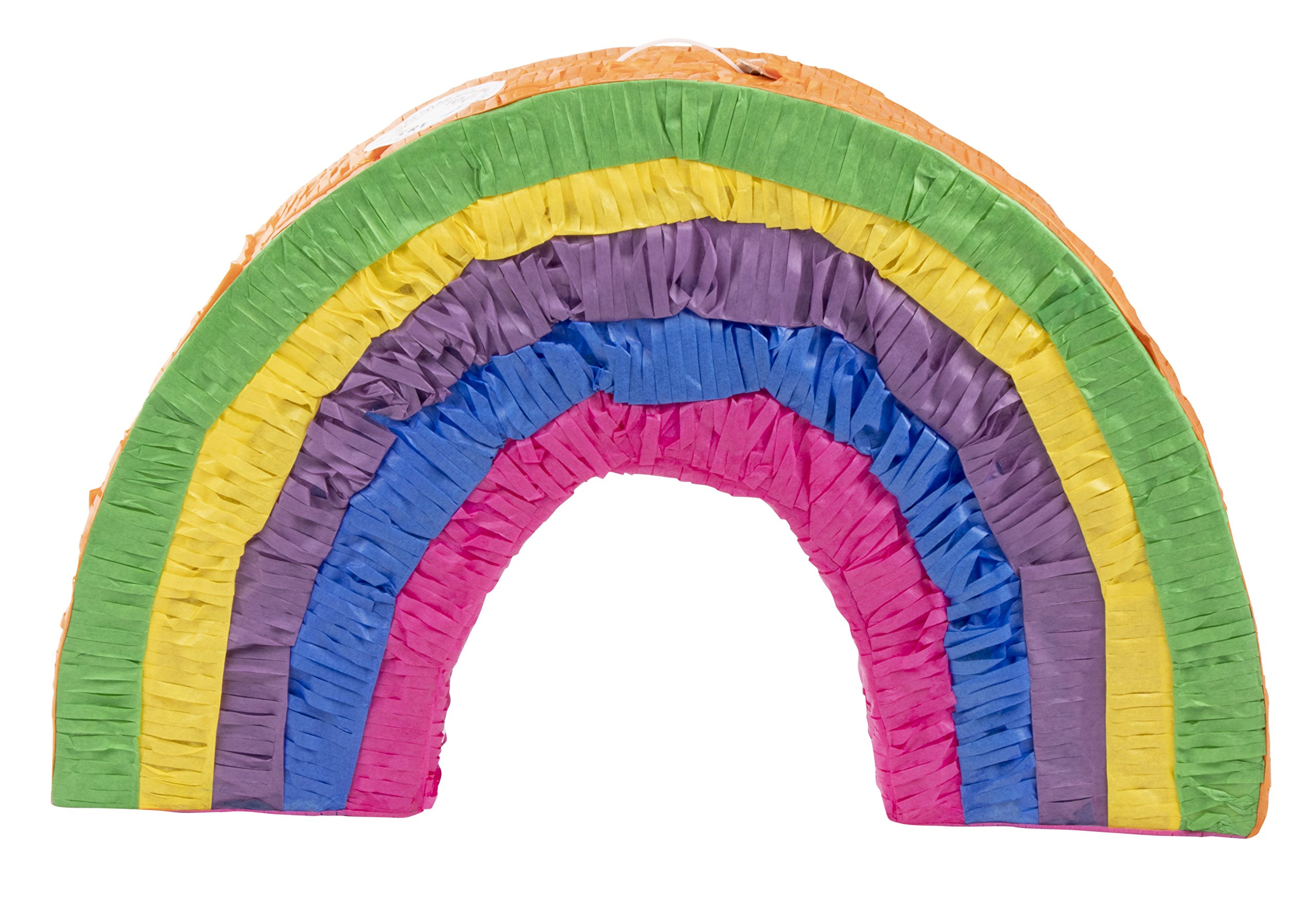 Rainbow Pinata - Kids Birthday Party Supplies for Rainbow Themed Party, Multicolored, 16.5 x 10.2 x 3 Inches