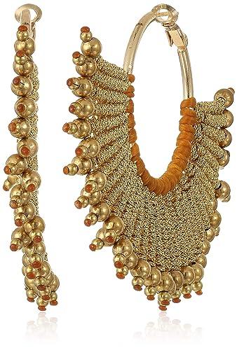 1df59b83c954d Panacea Women's Gold Metallic Rope Fan Earrings, One Size