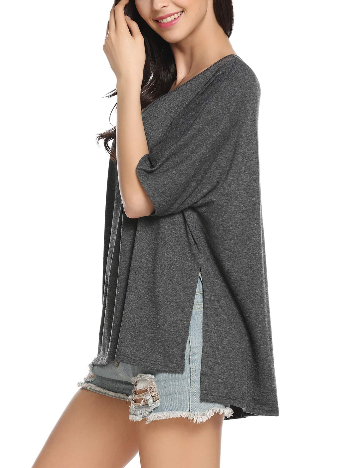 ACEVOG Women\'s Sexy Long Batwing Sleeve Side Slits Loose Pullover V Neck Casual Top Blouse T-Shirt