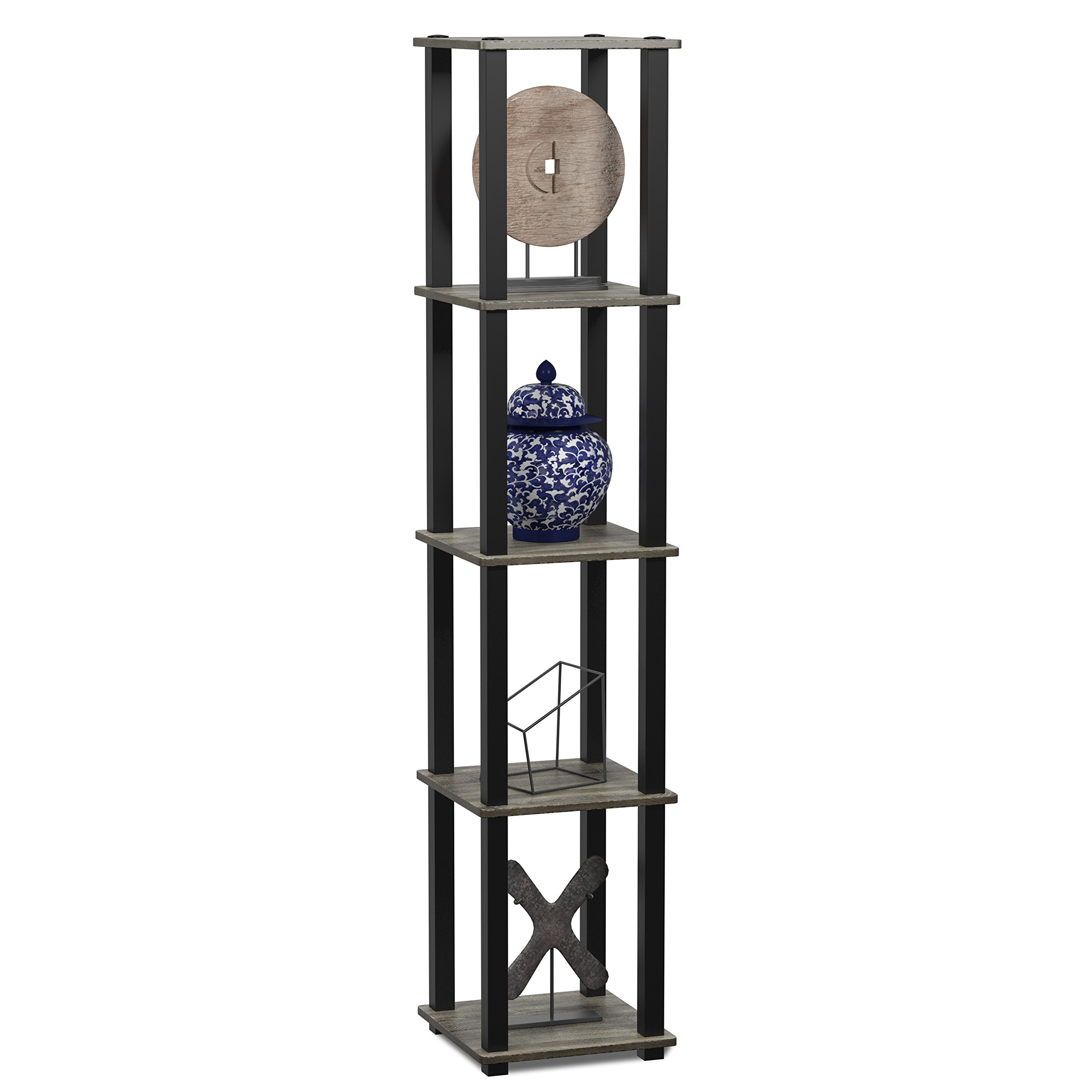 Furinno 18026GYW/BK Turn-S 5-Tier Compact Multipurpose Shelf, Square Tube, French Oak Grey/Black by Furinno (Image #3)