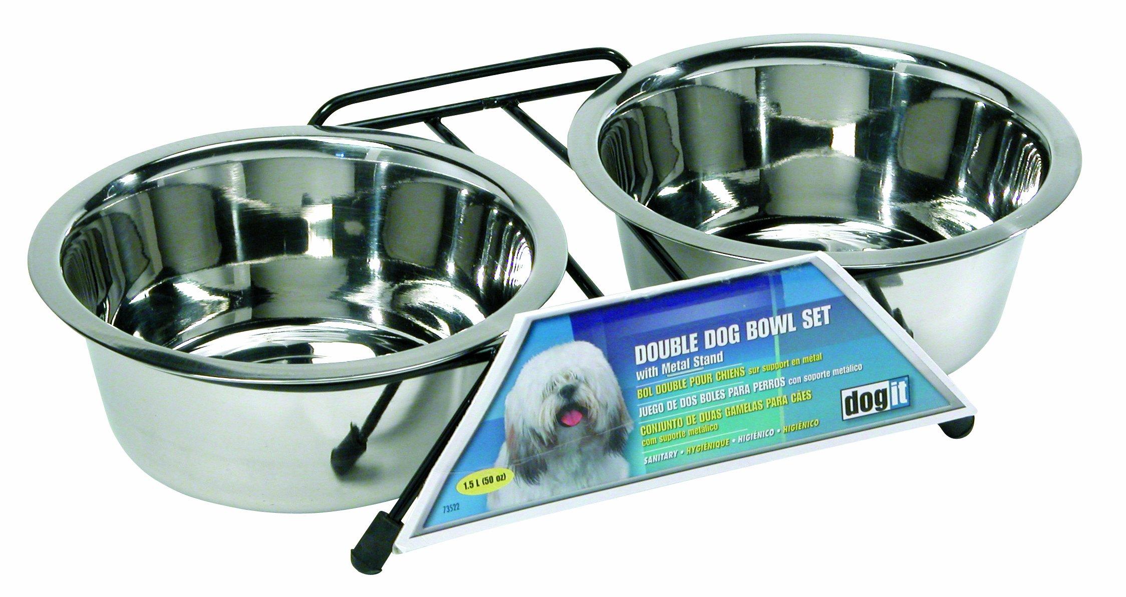 Dogit Stainless Steel Double Dog Diner, Medium