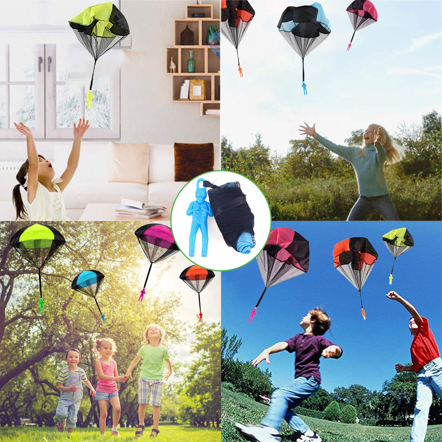 Camlinbo Parachute Toy-8 Pack Tangle Free Throwing Hand Throw Soldiers Parachute Man, Outdoor Children's Flying Toys for Kids Boys Girls Toddler No Battery nor Assembly Required by Camlinbo (Image #2)