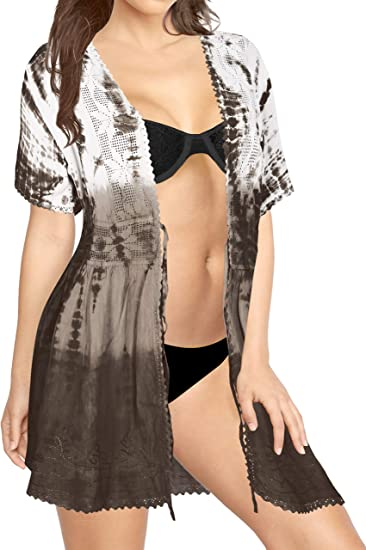 TALLA L-XL. LA LEELA Bordado Mujer rayón Corto teñido Anudado Kimono Chaqueta de Punto para Camisa Playa Capa Bikini Cubren Punta Kimono A