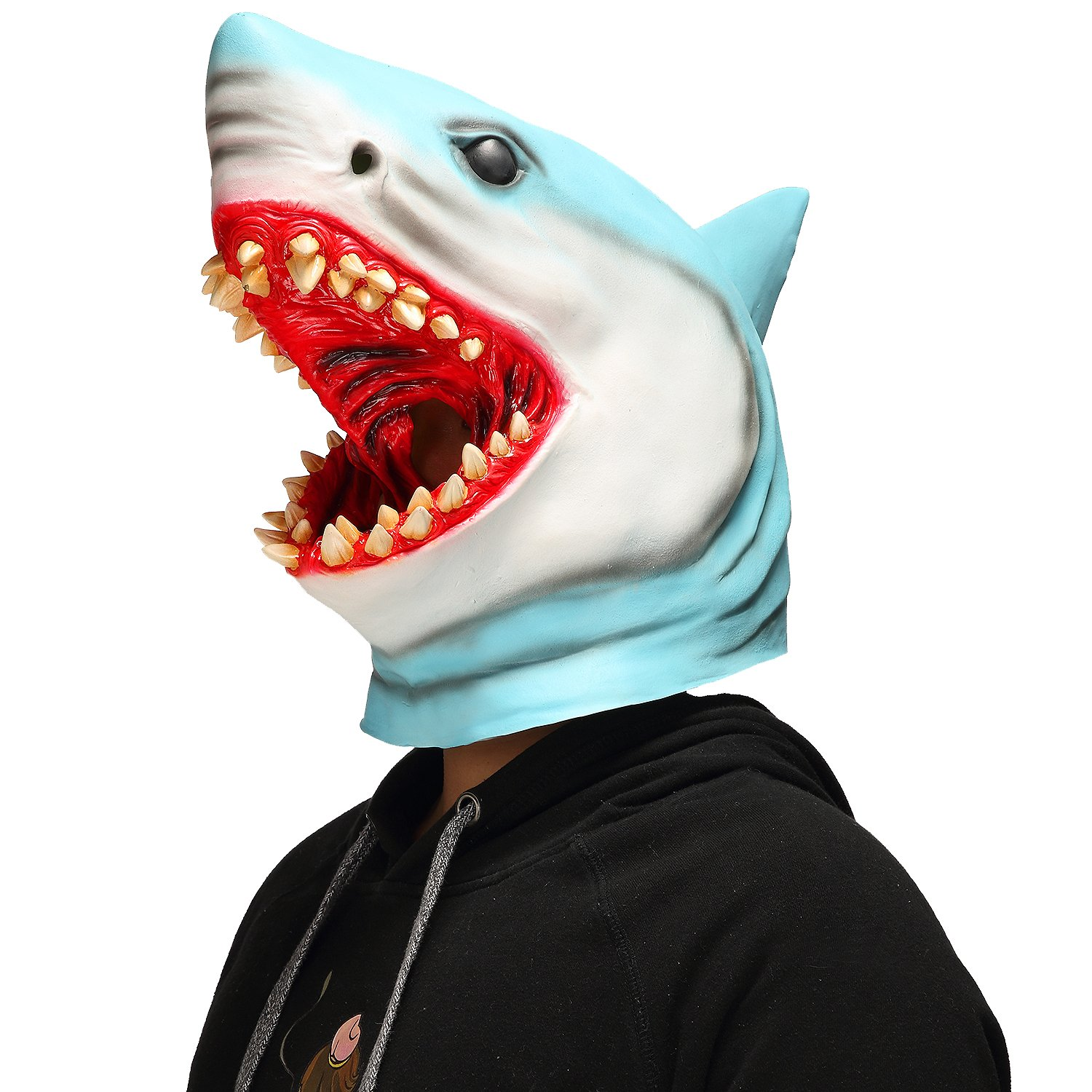 Halloween Horror Shark Animal Cosplay Props Scary Bloody Great White Shark Mask Blue
