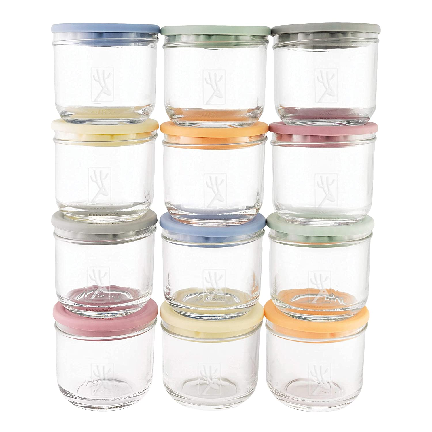 Elk and Friends 5oz Borosilicate Glass Baby Food Storage Jars with Silicone Lid | Available in 12 or 6 Set | Strong Glass | Storage Containers | Microwave, Oven & Dishwasher Safe | Infant and Babies