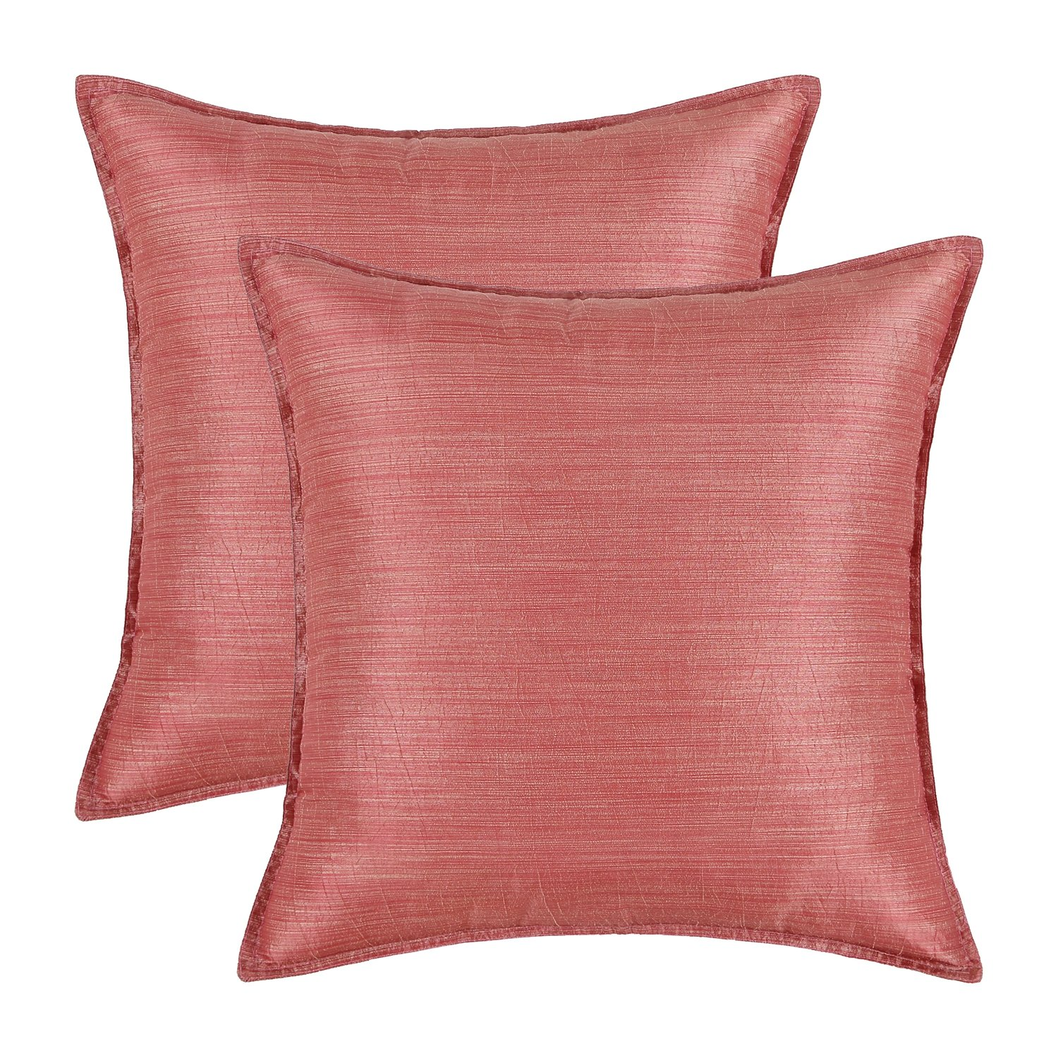 Pack of 2, CaliTime Silky Throw Pillow Covers Cases for Couch Sofa Bed, Modern Light Weight Dyed Striped, 18 X 18 Inches, Coral Pink