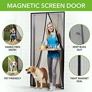 "Homitt Magnetic Screen Door with Heavy Duty Mesh Curtain and Full Frame Hook & Loop FITS Door Size up to 36""-82"" Max"
