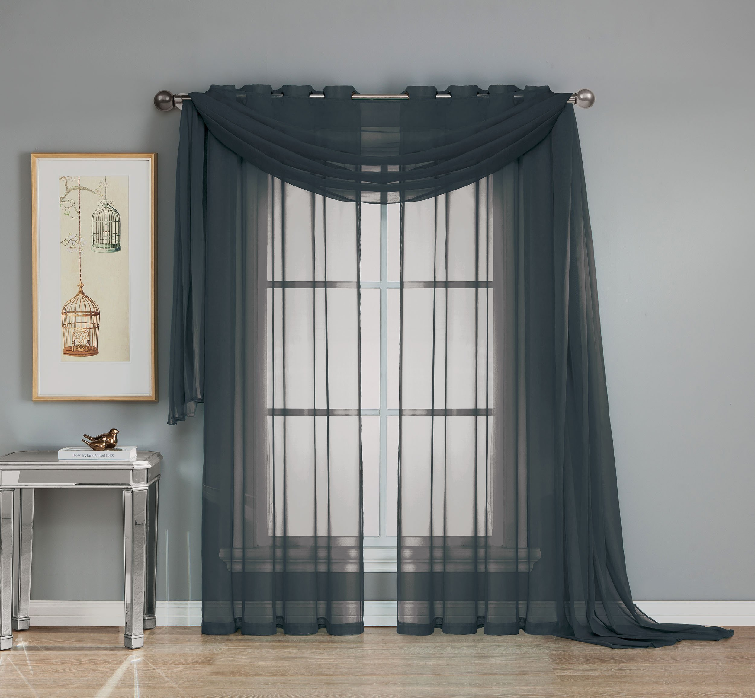 "Window Elements Diamond Sheer Voile Extra Wide 56 x 90 in. Grommet Curtain Panel, Black - Includes (1) unlined 56"" W x 90"" L curtain panel Each panel features (8) brass-colored grommets 2.5"" reinforced metal grommets fit up to a 1.5"" curtain rod (curtain rod sold separately) - living-room-soft-furnishings, living-room, draperies-curtains-shades - 81mFDncwOXL -"