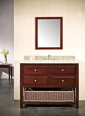 Ove Decors DANNY 42 Bathroom Vanity, Chocolate With Beige Granite Vanity Top  U0026 White Basin