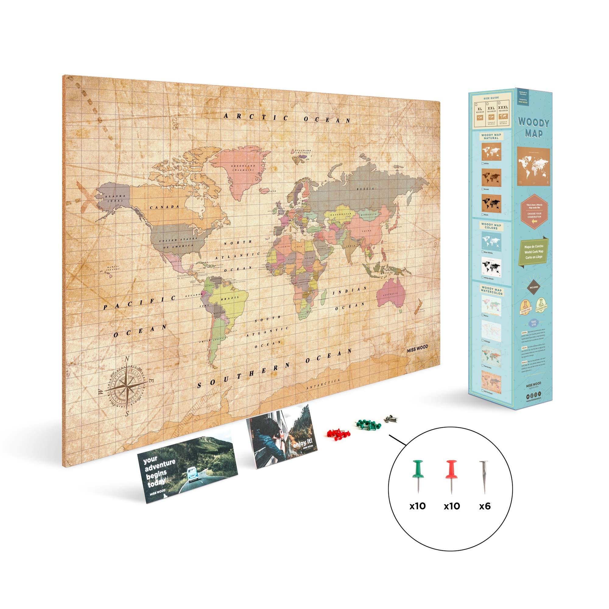 Miss Wood Woody Old School XL Map, Cork, Multicolor, 90x 60x 0.4cm