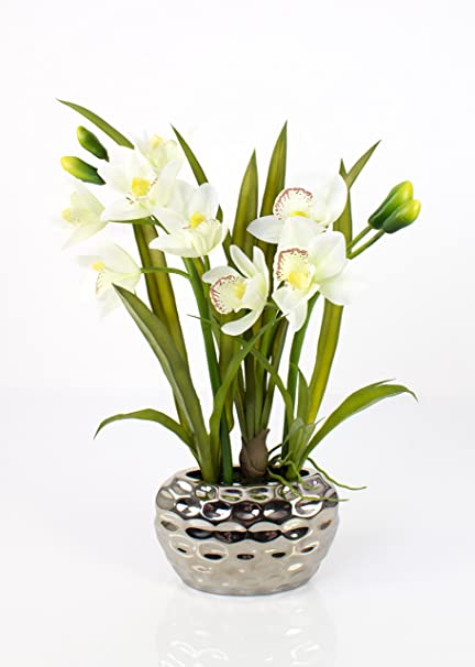 Artplants Orchidea Cymbidium Artificiale NALA In Vaso Argentato, 2 Rametti,  Crema Bianca,