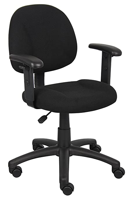 Boss Office Products B316 BK Perfect Posture Delux Fabric Task Chair With  Adjustable Arms In