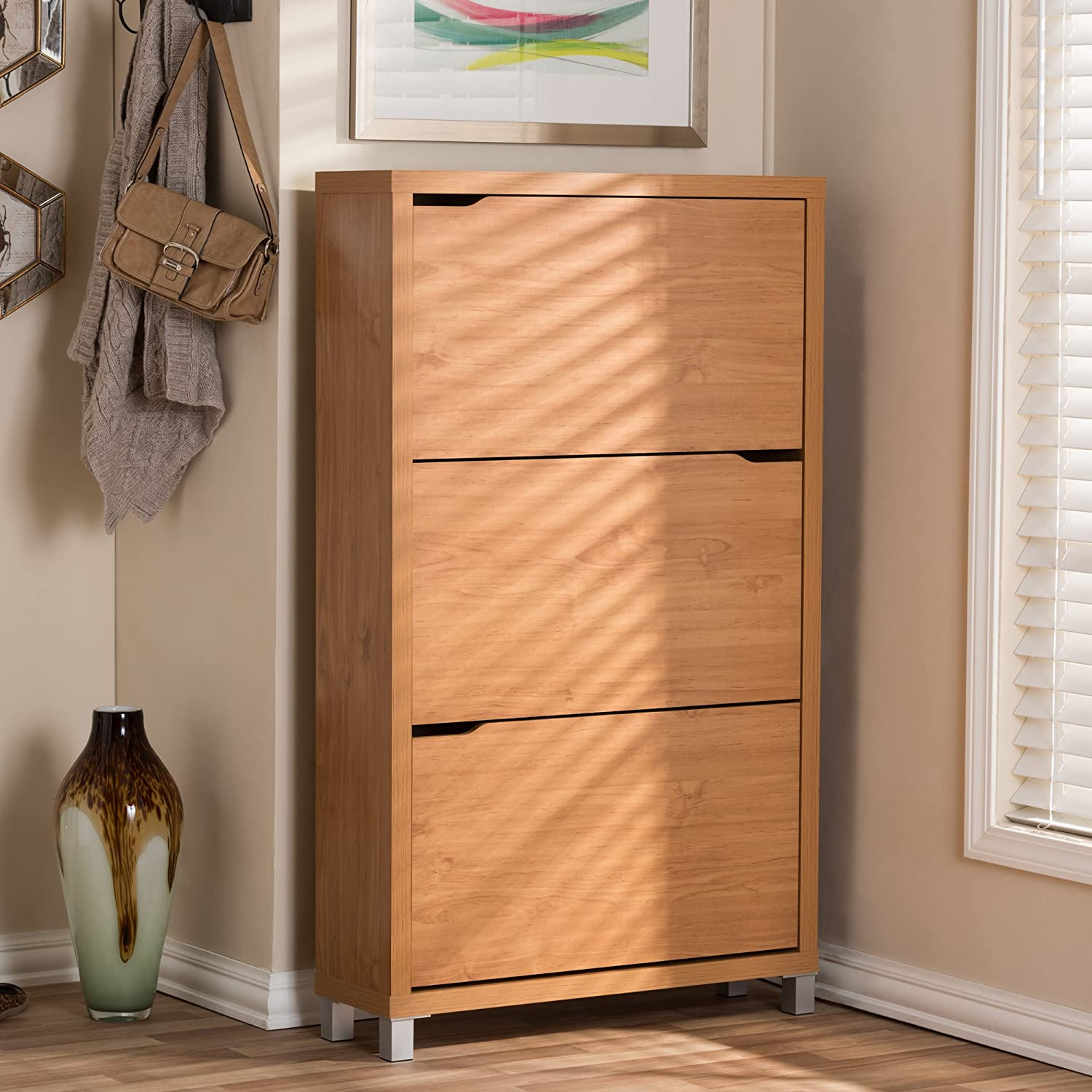 Amazon.com: Baxton Studio Simms Modern Shoe Cabinet, Maple: Home U0026 Kitchen