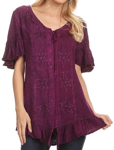 Sakkas 1663 - Sayle largo estrella bordada camisa de la blusa superior con el botón frontal