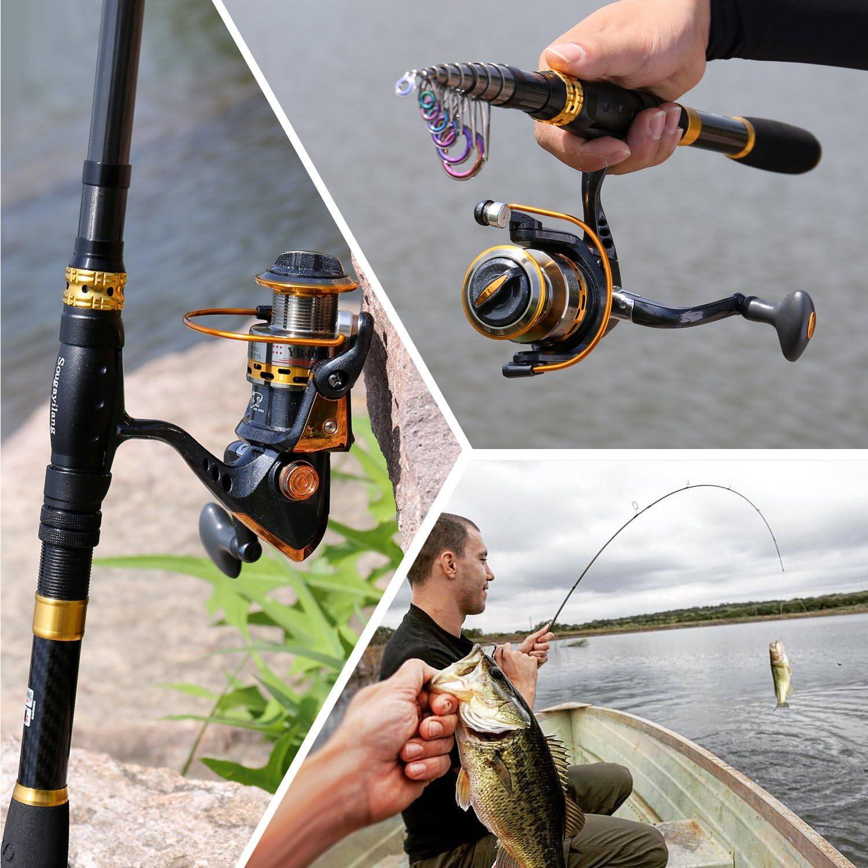 Sougayilang Carrete de ca/ña de Pescar telesc/ópico de Fibra de Carbono con Carrete Giratorio para Viajes en Agua Salada y Pesca de Agua Dulce
