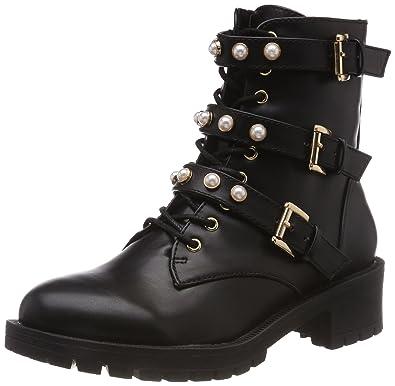 1458208b Bianco Women's Pearl Biker Boots, Black (Black 100), 7.5 UK: Amazon ...