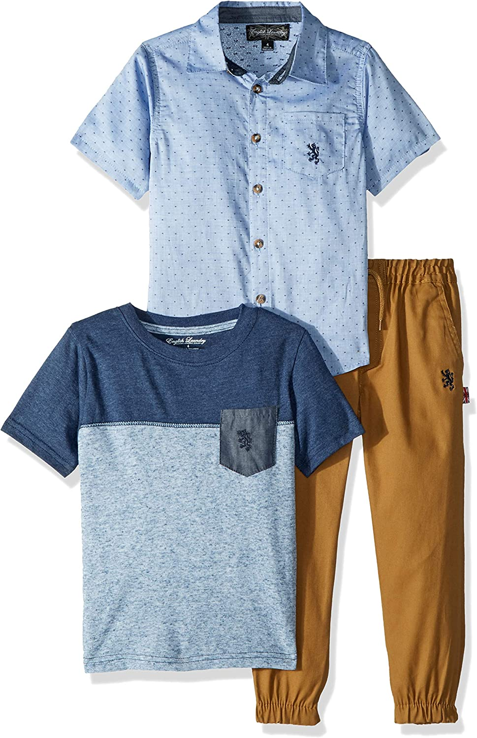 English Laundry Boys' Little Woven, Color Block T-Shirt, and Pant Set`