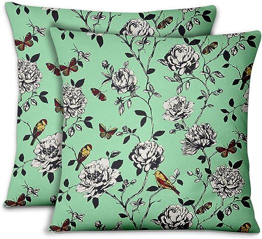 S4Sassy Mint Green Bird /& Floral Print 2 Pcs Cotton Poplin Rectangle Pillow Sham