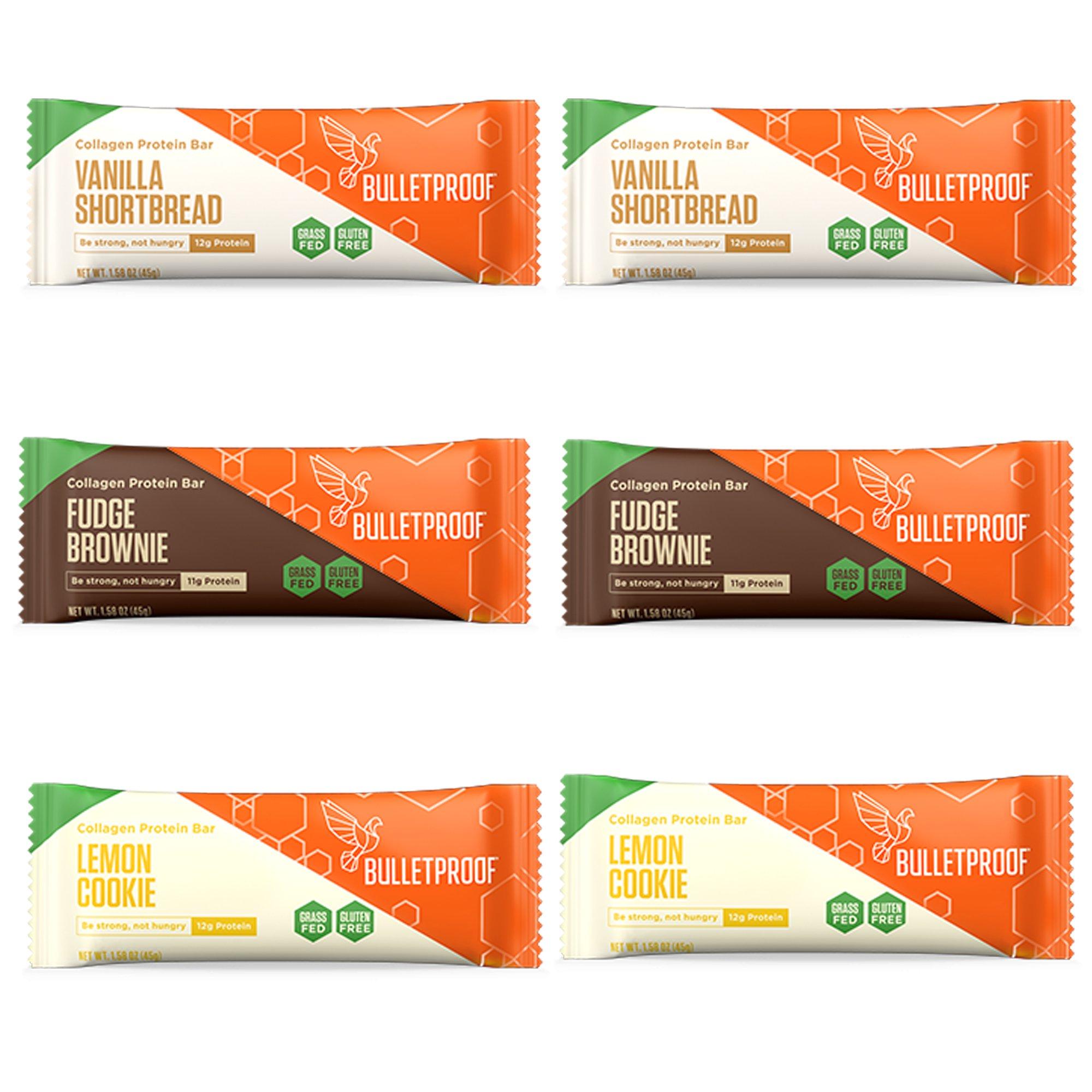 Bulletproof Collagen Protein Bars 6 Pack, Variety, 2 Fudge Brownie, 2 Lemon Cookie, 2 Vanilla Shortbread by Bulletproof