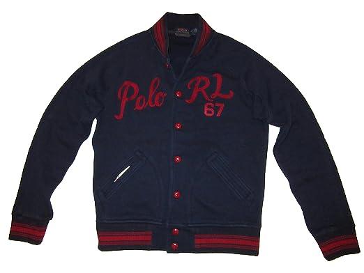 Ralph Lauren Polo Mens Full Button Cotton Blend Baseball Jacket ...