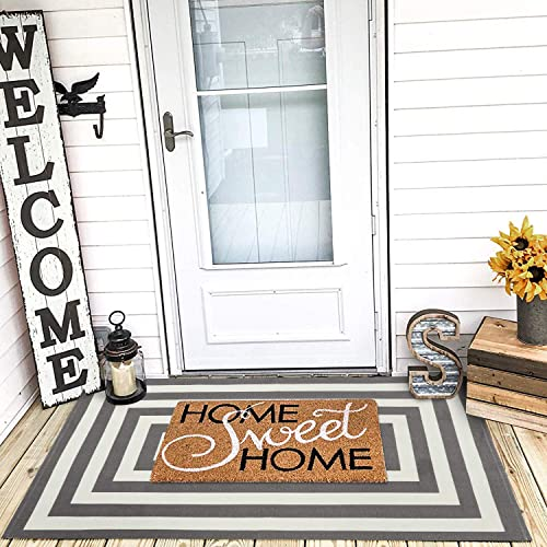 LEEVAN Cotton Doormat 3 x 5 Printed Black and White Strip Area Rug Machine Washable Woven Fabric Porch Outdoor Rug Indoor Outdoor Shower Bathroom Non-Slip Floor Carpet