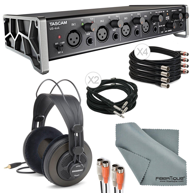 "Tascam US-4x4 4-Channel USB Audio Interface Deluxe Bundle with Dual MIDI Cable + 2 X ¼"" Cable + 4 X XLR Cable + Samson Studio Headphones+ Fibertique Cleaning Cloth"