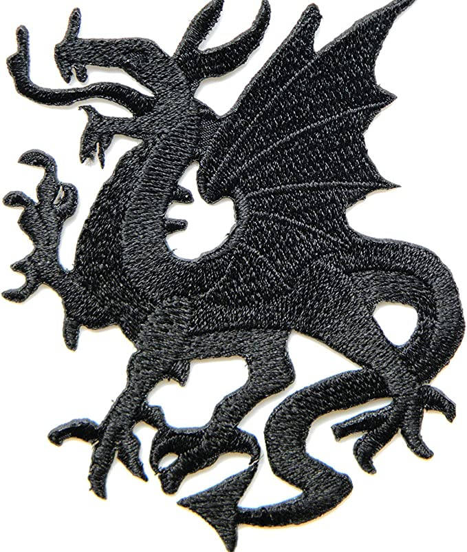 12cm RED BLACK DRAGON TATTOO EMBROIDERED CLOTH SEW IRON ON PATCH BADGE APPLIQUE