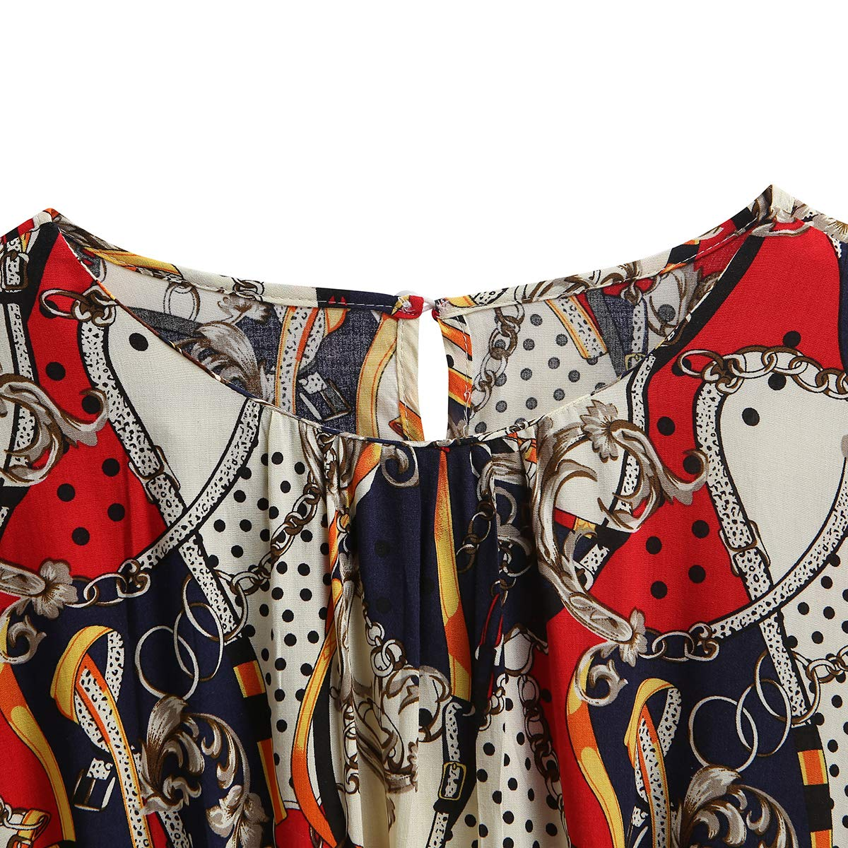 Womens Pure Color Round Nack Printing Short Sleeve Tunics Blouse Tops