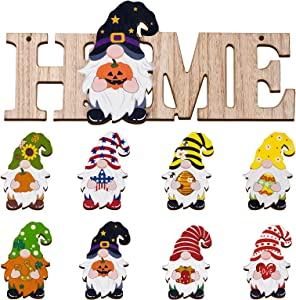Interchangeable Gnome Welcome Sign for Front Door, Seasonal Wooden Home Sign with 8 Styles Holiday Sign, Farmhouse Home Outdoor Hanging Welcome Sign Decor