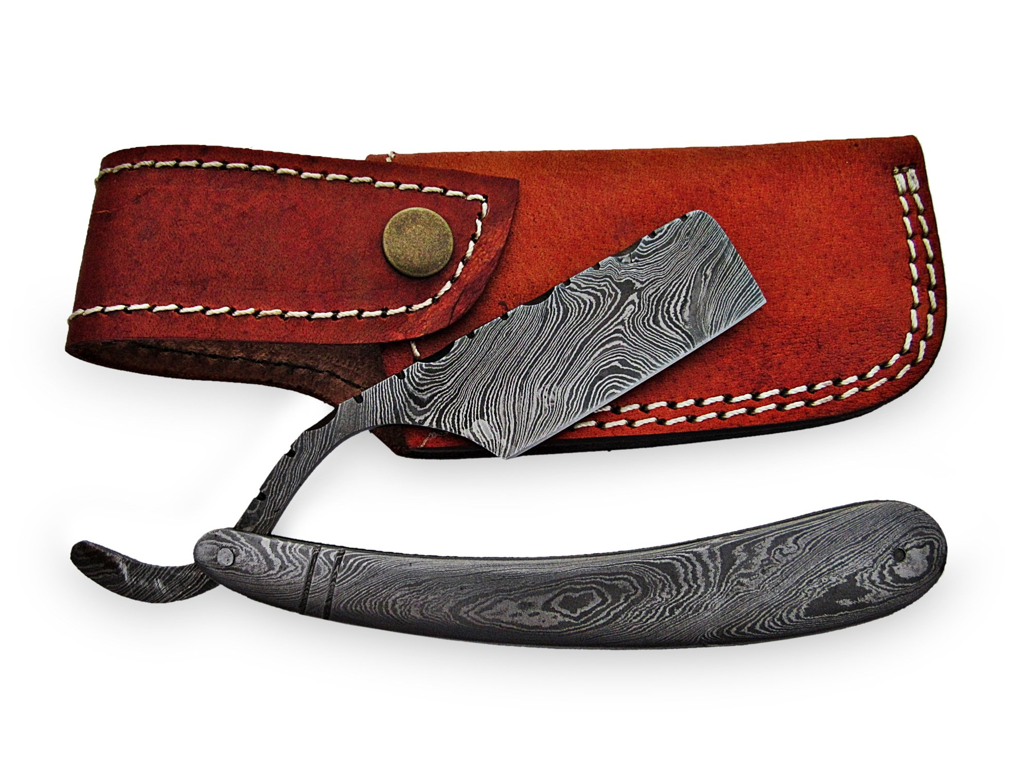 AishaTech Captor Prime Quality Straight Razors Damascus Steel Blade and Handle
