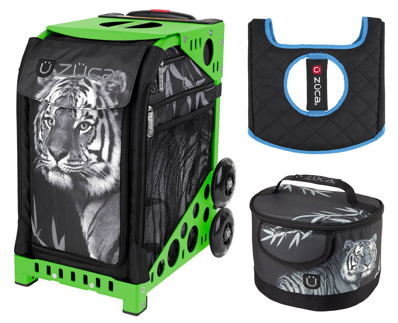 Zuca Sport Bag - Tiger with Lunchbox and Seat Cover (Green)