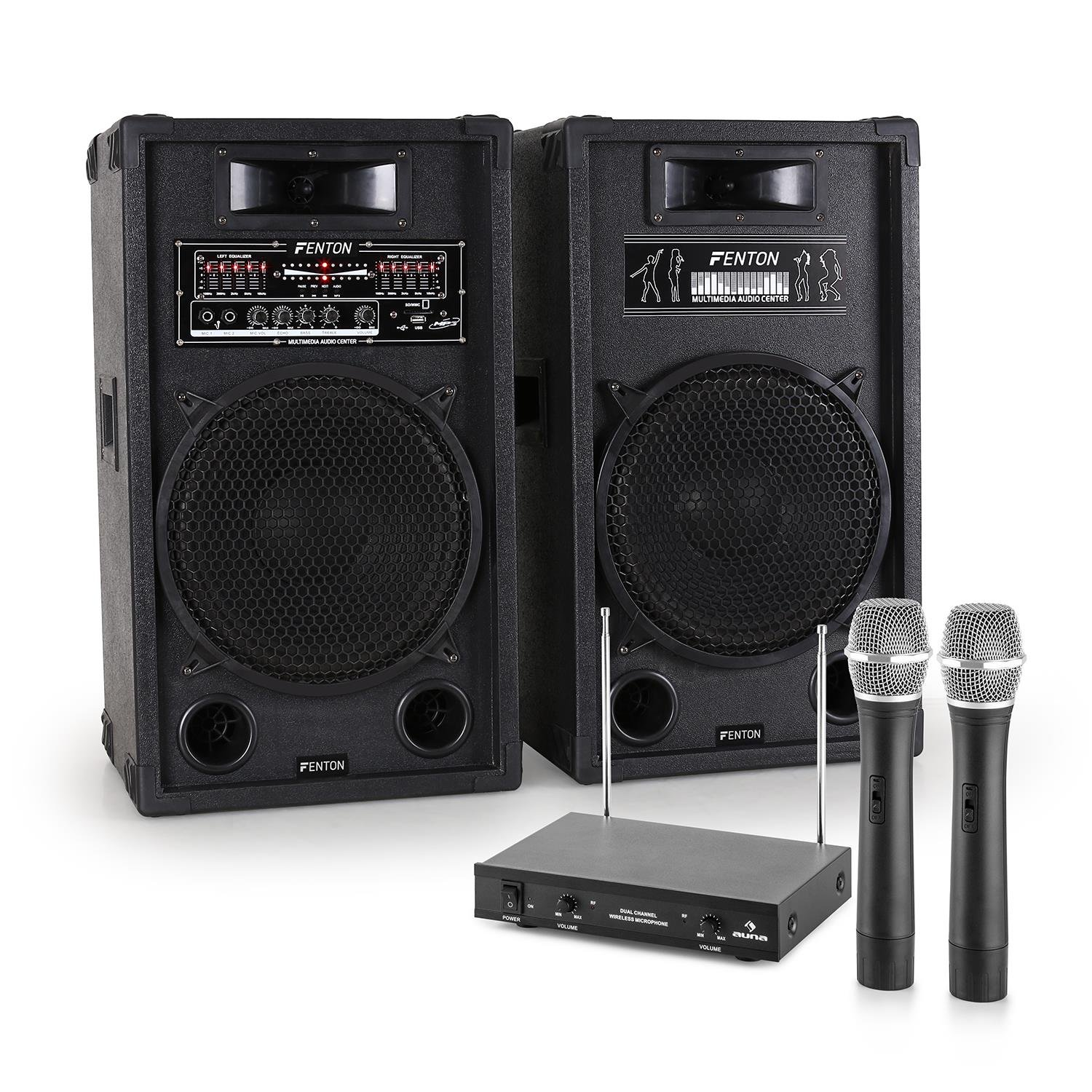 Kit Karaoke STAR-12 Set impianto casse attiva/passiva (1200 Watt max, 2 microfoni wireless, ricevitore, ingressi USB SD) E-star