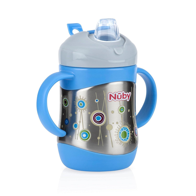 Bleu Nuby en acier inoxydable souple Paille Tasse