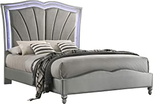 Coaster Home Furnishings Bowfield Eastern King Upholstered Bed with LED Lighting Grey Platform
