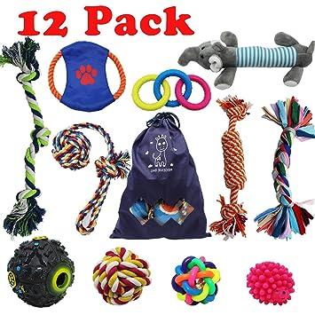 Forwindog Juego de 12 juguetes indestructibles para masticar a perros, cuerdas chirriantes para cachorros, juguetes de dentición para perros pequeños y ...