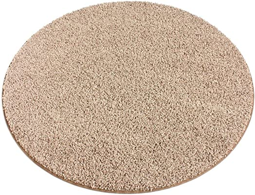 7 Round Beige Area Rug. Frieze Plush Textured Carpet for Residential or Commercial use. Approximately 1 2 Thick with Binding.